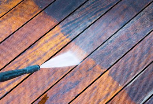 power washing a wood deck