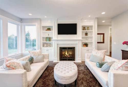 freshly painted white living room