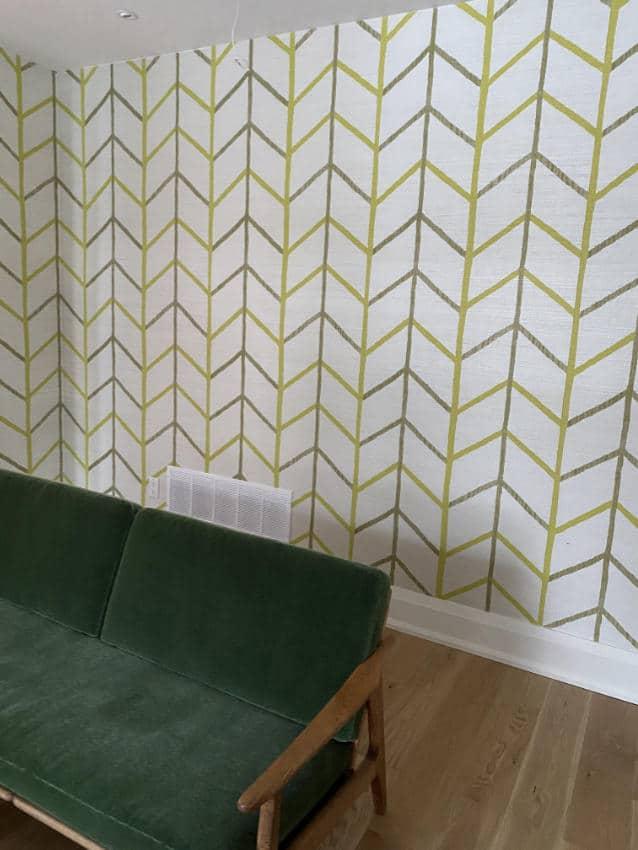 retro wallpaper installed in living room